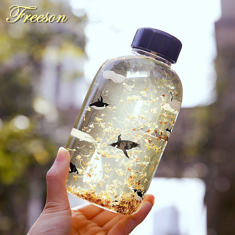 Creative Polar Bear Penguin Glass ūdens pudele Cute Animal Ice pudeles Cartoon kempings Sport Bottle Tour Drinkware Zakka