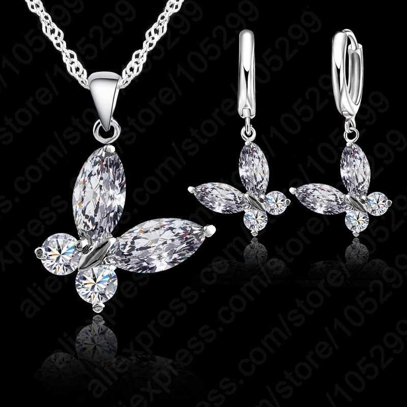 Free Shipping Crystal Butterfly With Female Fashion Short Chain Pendants Necklace+Earrings Jewelry Set   For Women