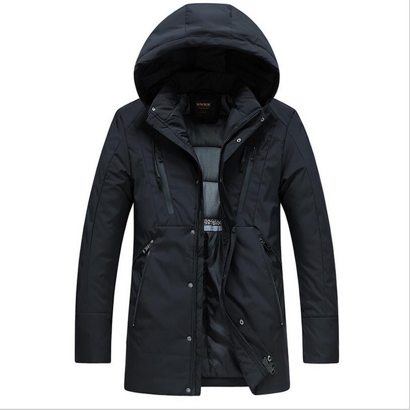 Winter Warm Hooded Down Jackets Men Outwear Casual Long Warm   Parkas   Thicker Warm Long Coats New Men Slim Down Jackets