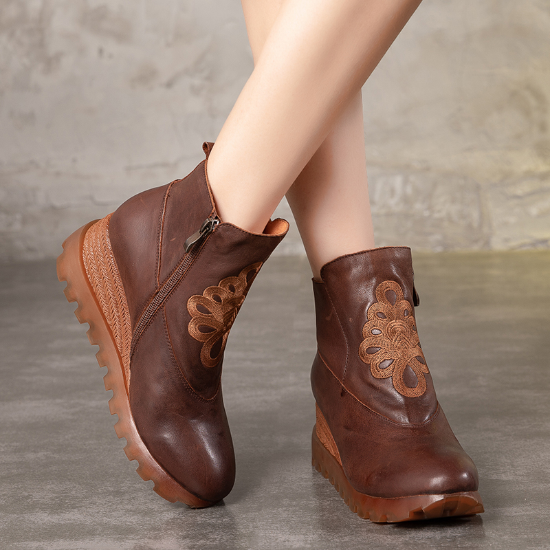 Embroidery Floral Wedge Booties For Women Genuine Leather Elegant Retro Female Boots High Platform Lady National