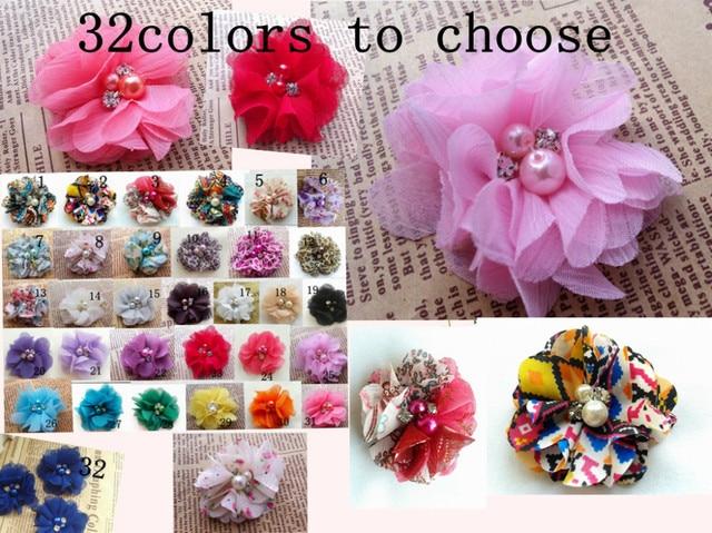 wholesale 2 inch mini chiffon pearl diamond flowers heads flowers for hair headbands 100pcs/lot