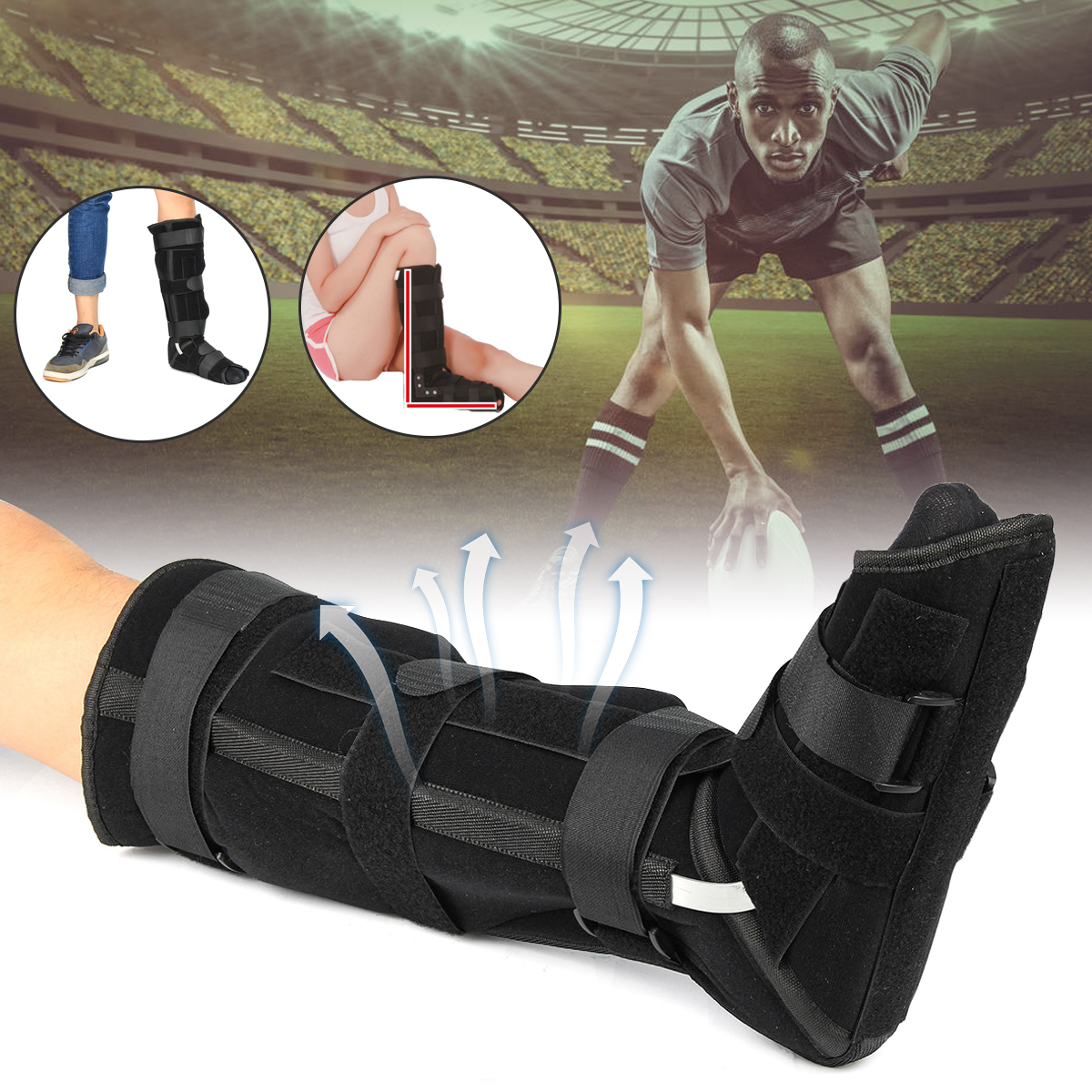Adjustable Ankle Splint Boot Brace Support Protection Foot Guard Sprains Injury Wrap Tplint Strap endinitis Plantar Unisex