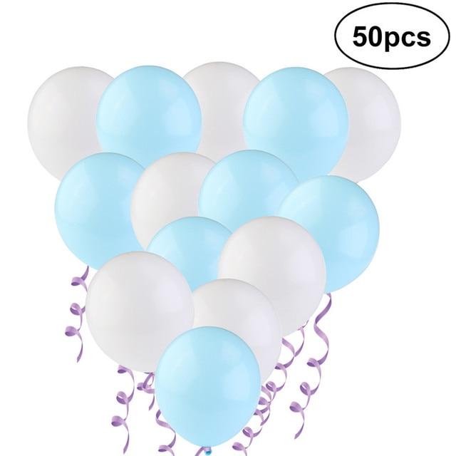 50 Metallic Balloons Each 25 X White And Light Blue Party Home Decor Wedding Birthday Balloon