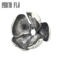 Emith Fla 925 Sterling Silver Shadow Petal Charm Beads DIY Fit For European Brand Troll Bracelet