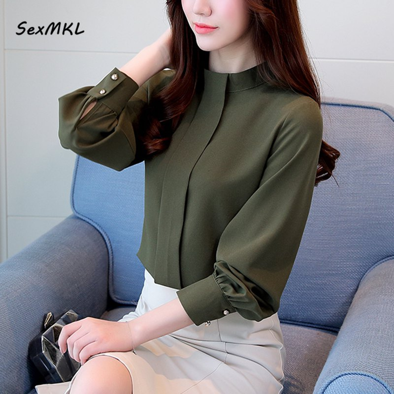 b463297c356 SexMKL Plus Size Autumn Tops Women Long Sleeve Shirts Casual Chiffon Blouse  2018 Ladies Korean Office Blouses Blusas Femininas