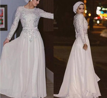 vestido longo Sparkly Long Sleeves Muslim Evening Dress Crystal Chiffon Floor Length Prom Dresses Arabic Abaya Party
