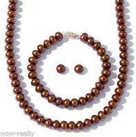 FREE SHIPPING7 8MM Cultured Freshwater Brown Pearl Necklace Bracelet Stud Earring Jewel Set (A0423)