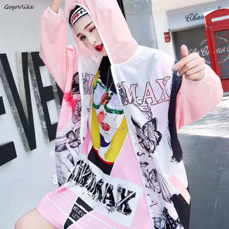 Pink Thin   trench   coat Hooded Sun-Proof 2019 Summer Women Chic Butterfly Loose Coat Harajuku Windbreaker LT977S50