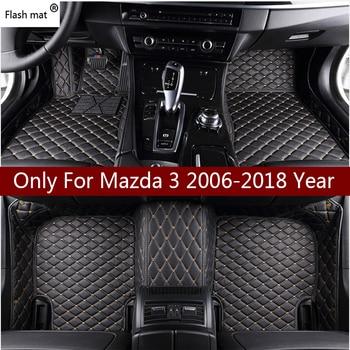 Flash mat leather car floor mats for Mazda 3 323 2006-2013 2014 2015 2016 2017 2018 Custom auto foot Pad automobile carpet cover