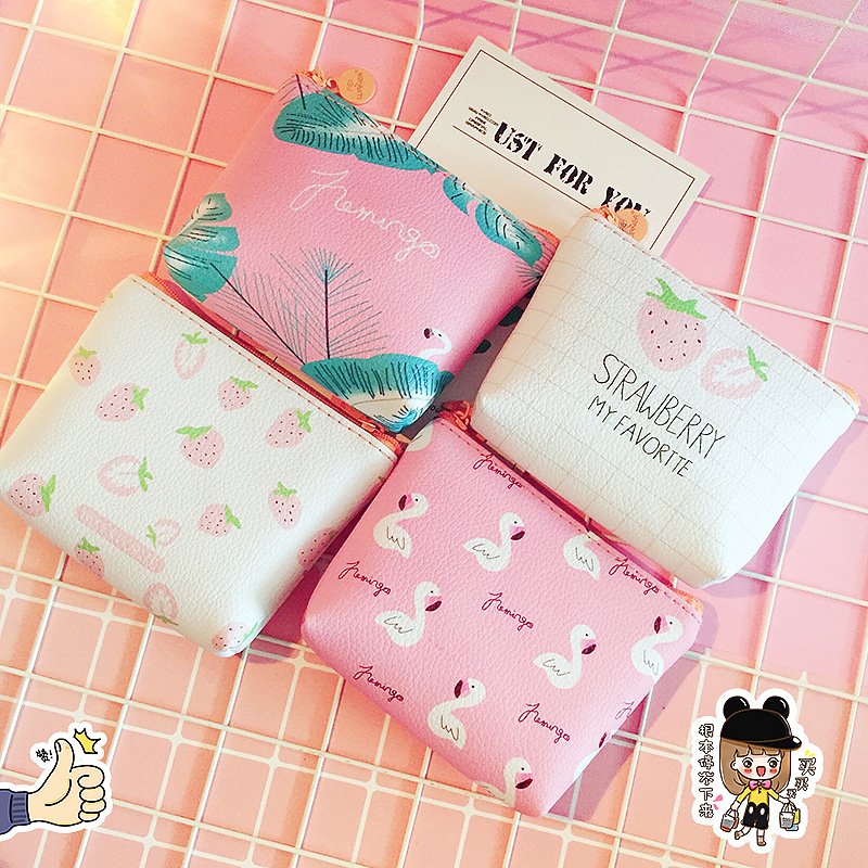 PACGOTH kawaii pu leather coin purses animal prints flamingo fruits pattern strawberry english letter mini coin cash pouch bags