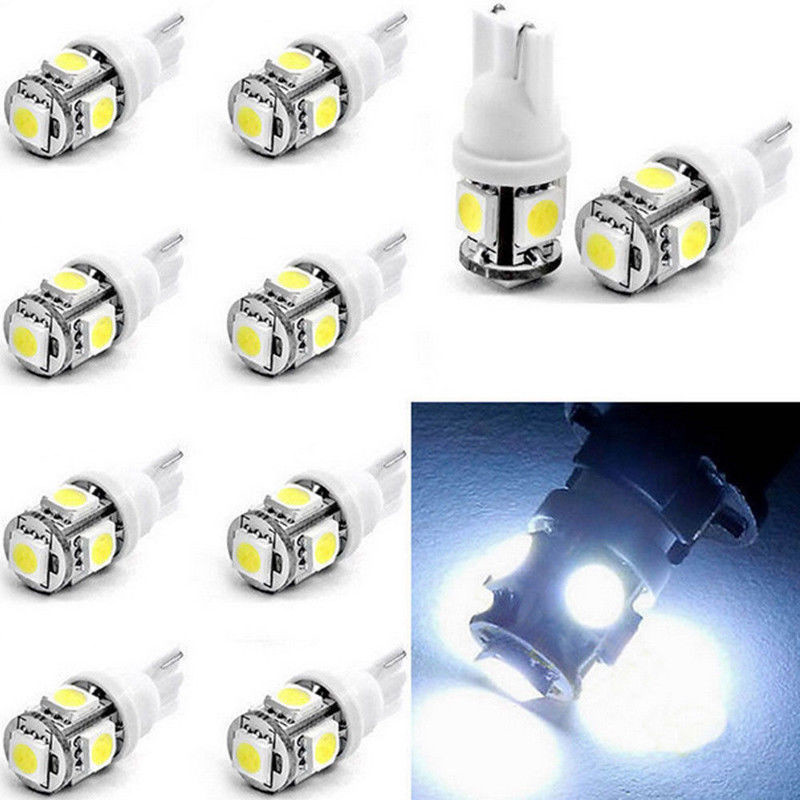 <font><b>100X</b></font> <font><b>T10</b></font> 5050 W5W 5 SMD168 LED White Car Side Wedge Tail Light Lamp Bulb Atv Scooter Offroad Dual Sport bike image