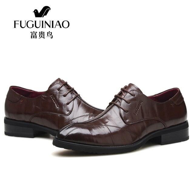 153b55b6ba Lujo italiano hombres de negocios casual vestido Zapatos marca Cuero  auténtico Zapatos Hombre Derby Zapatos moda