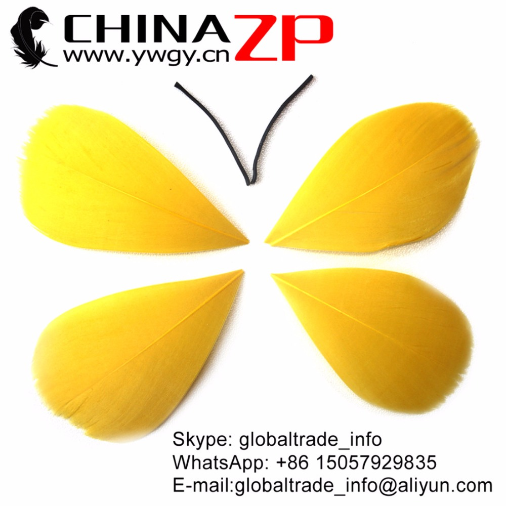 CHINAZP 100pcs/lot Size 3~7cm Eco-friendly Dyed Gold Top Quality Goose Trimmed Feathers Crafts
