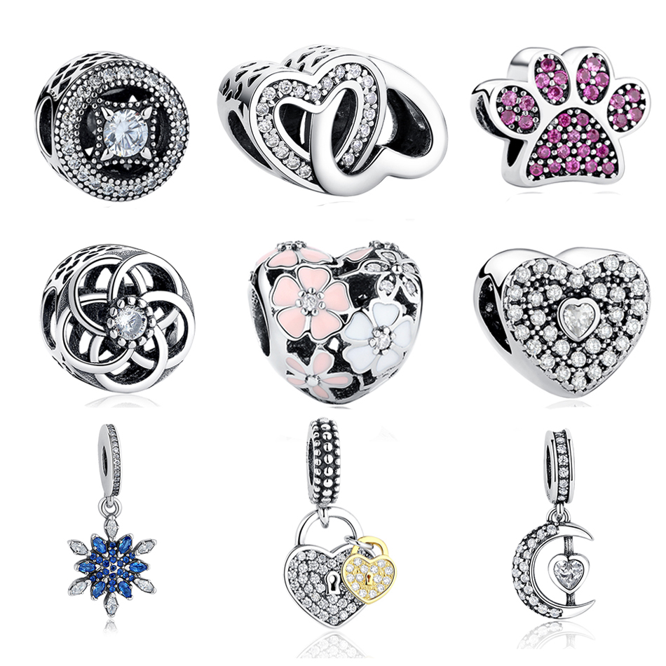 Authentic 925 Sterling Silver Beads CZ Zirconia Snowflake Dangle Charm Fit Original Pandora Charms Bracelets Jewelry