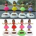 4 unids/set Solar Powered Dancing Hula Girl Balanceo Juguete Bobble Regalo Para la Decoración Del Coche de La Novedad Baile Feliz Solar Juguetes de Las Niñas