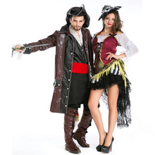 Free shipping Halloween costume pirate play adult couple Cosplay game uniform Caribbean Pirate Costume for men and women JQ-1133