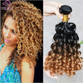 Alta Calidad 6A Brasileña Del Pelo Humano Lía 3 unids Spiral Curl 1B #4 #30/27 Blonde Ombre Rizado Rizado Armadura brasileña Rizada TOSA