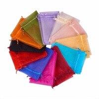 Pandahall 200 STKS Gemengde Kleur Organza Gift Bags met Koord voor Kerst Wedding Candy 15*10 CM