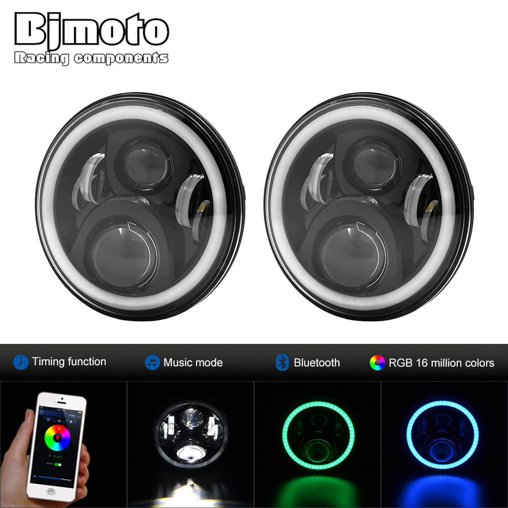 Pair 7 round LED headlight CellPhone Control hi/lo Beam Headlights with Angel Eye For Jeep Wrangler Land Rover Defender Hummer 1 pair 7 inch 78w cree chips h4 hi lo led headlight lamp angel eye drl bulb for jeep wrangler offroad
