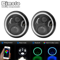 Pair 7 Round LED Headlight CellPhone Control Hi Lo Beam Headlights With Angel Eye For Jeep