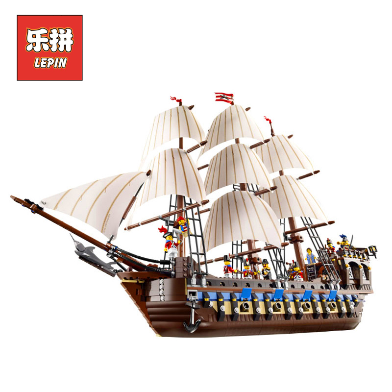 Lepin 22001 Movie the Pirate Ship Caribbean Warships Set DIY Model Building Blocks Bricks Children Educational Toys Gift 10210 lepin 22001 pirates series the imperial war ship model building kits blocks bricks toys gifts for kids 1717pcs compatible 10210