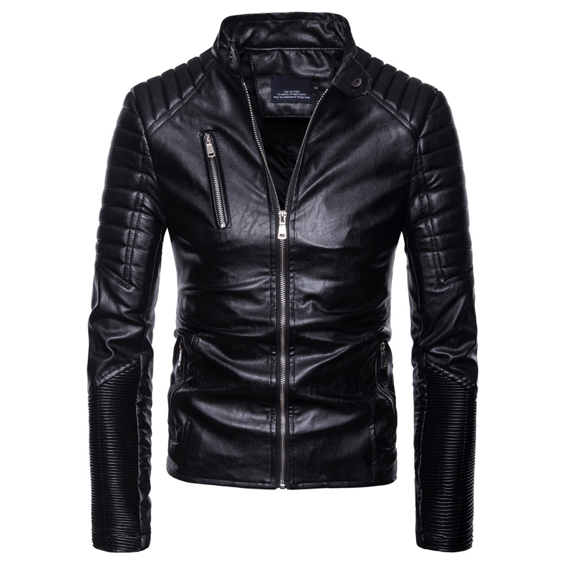Knobspin High quality Leather Jacket men Stand collar Autumn Winter Outwear Coats Slim Casual Leather motorcycle Biker jackets
