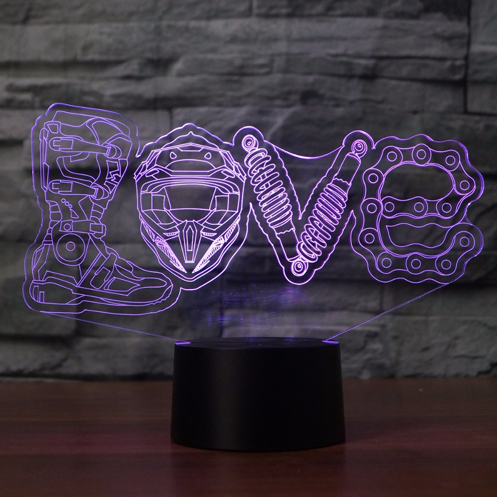 LED Mechanical Love Modelling 3D Night Lights Creative 7 Colors Changing Luminaria Table Lamp Home Decor Motorcycle Fans Gifts
