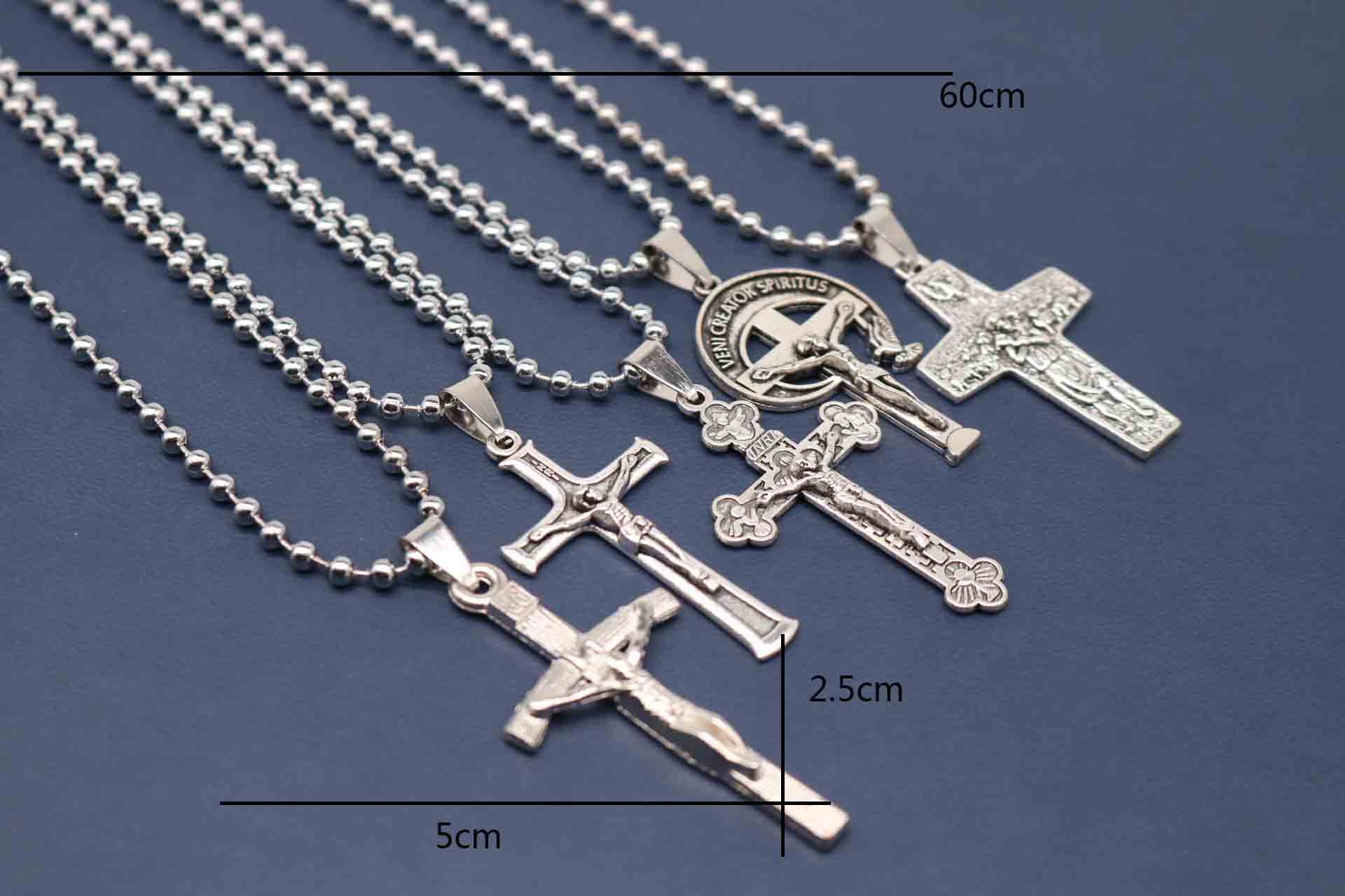 """18/""""Stainless Steel 1.5mm Silver Smooth Box Link Chain Simple Cross Pendant*P67"""
