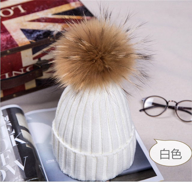 Mink and fox fur ball cap pom poms winter hat for women girl 's hat knitted beanies cap brand new thick female cap
