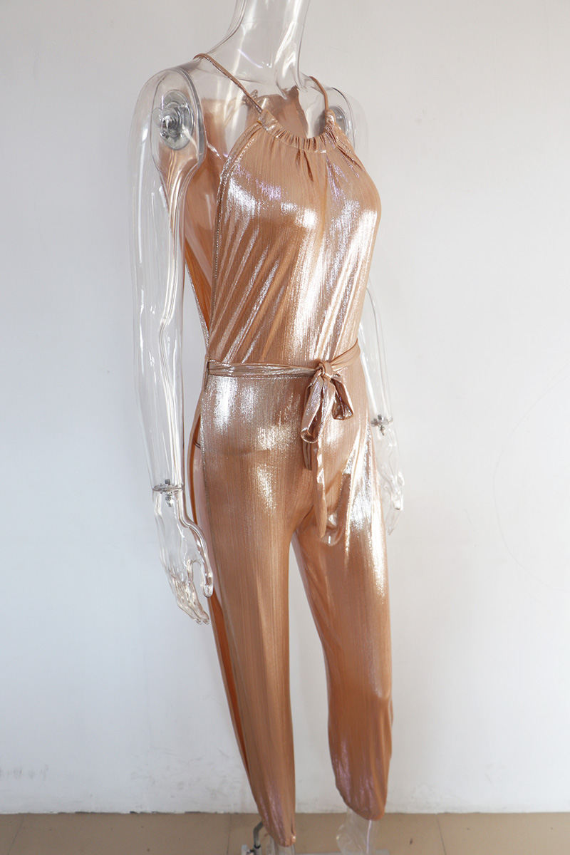 e008c85092 Beyprern Sexy Gold Metallic Slit Leg Harem Jumpsuits Rompers Stylish Gold  Sleeveless Halter Keyhole Jumpsuits Overalls Clubwear-in Jumpsuits from  Women s ...