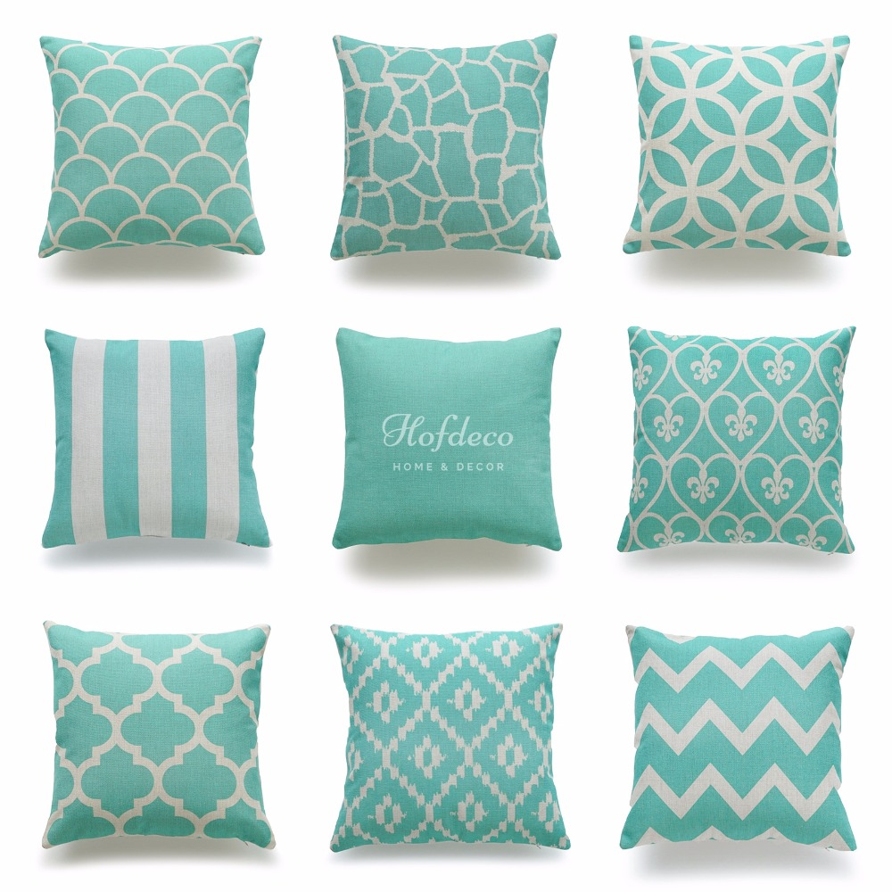 Decorative Throw Pillow Case Turquoise