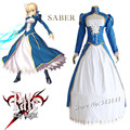 saber cosplay costumes battle dress Japanese anime game Fate/stay night clothing(top+ white dress+blue dress+bustle)