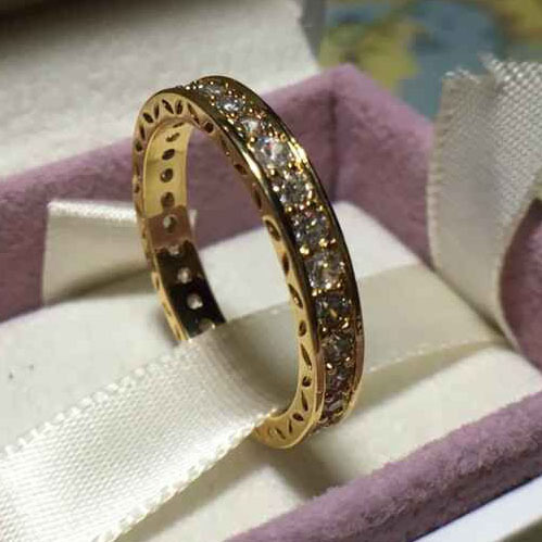 2017 Women Fashion CZ Rings wity Gold leaf Style Size #6-9 %100 925 Sterling Silver Rings Jewelry