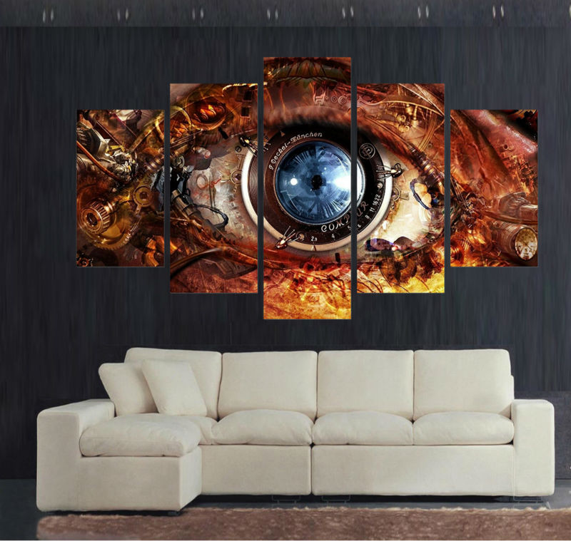 5pcs Home Decoration For Living Room Decor Wall Art Picture Printed  Steampunk Abstract Eyes Canvas Painting Art Prints /PT0125 In Painting U0026  Calligraphy ...