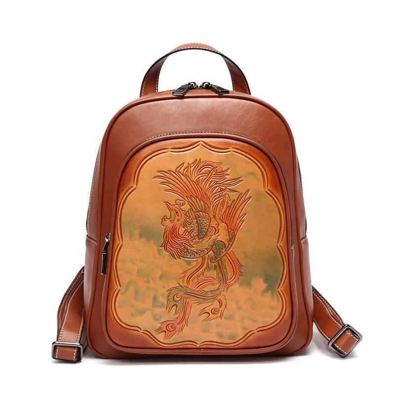 Women Vintage Backpack Designer High Quality Hand Caved Flower Leather Backpacks Men asus m4a78 vm desktop motherboard 780g socket am2 ddr2 sata2 usb2 0 uatx second hand high quality