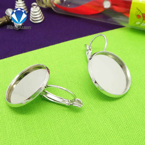 10 Buah Dalam 10/12/14/16/18/20 Mm Rhodium Berlapis Perak Leverback Bahasa Perancis ring Cameo Pengaturan Cabochon Tray Hoop Earring Temuan