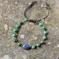 Unique Tribal Bracelet Natural Turquoise and Lapis Braided Bracelets Handmade Bohemia Cord Bracelet Birthday Gift