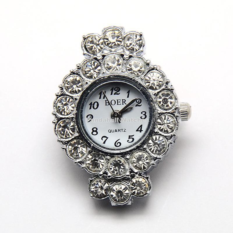 10pcs Alloy Rhinestone Watch Heads Flat Round Watch Faces, Platinum, 33x24x8mm, Hole: 1mm | Fotoflaco.net