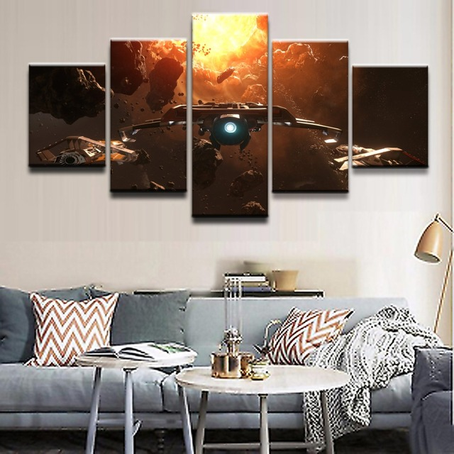 Modern Wall Art Canvas Print Painting Frame Modular Poster 5 Piece Game Star Citizen Asteroid Space Spaceship Home Picture