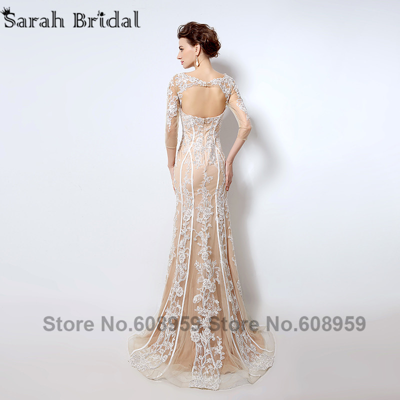 Nude Cut Srebrna večernja haljina Nova moda Crystal čipka tri - Haljina za posebne prigode - Foto 3