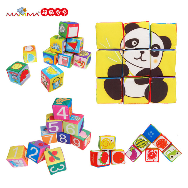 Children Toys 9pcs/lot with Box Package New Infant Baby Girl Boy Cloth Building Soft Blocks Book Series Baby Rattles Set