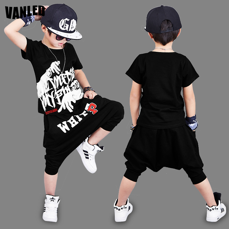 где купить VANLED Hip Hop Street Dance Boys Clothing Set 4-15Y Boys T-Shirt+Harem Pants Summer Cotton Children Sets Kids Streetwear Clothes по лучшей цене