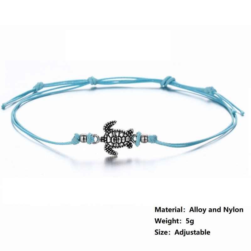 Plaża czeski żółw wisiorek z motywami zwierząt łańcuch regulowany wosk liny bransoletki na kostkę ze sznurkiem dla kobiety stóp etniczne sandały biżuteria bransoletka na kostkę