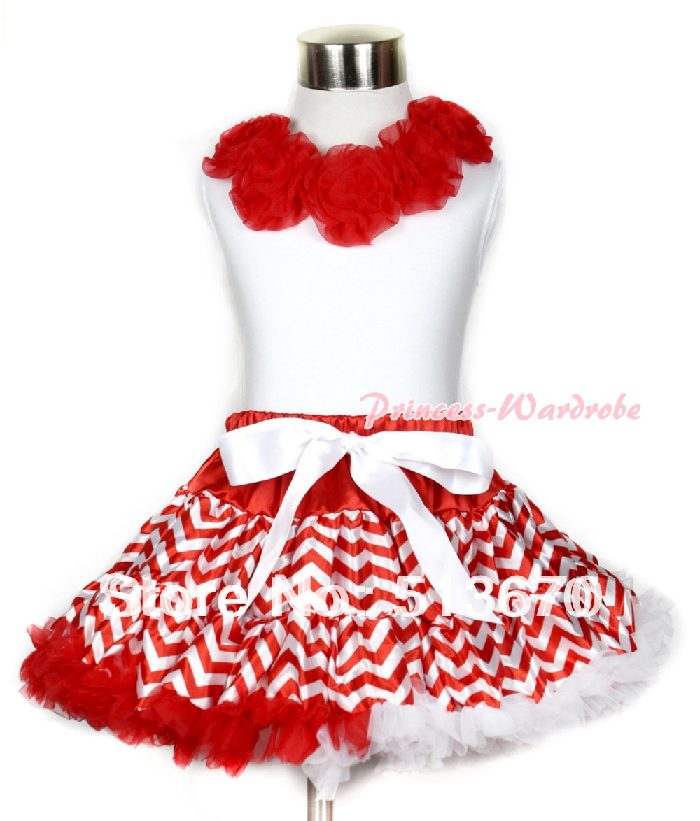 Xmas White Tank Top with Red Rosettes & Red White Wave Pettiskirt MAMG709 white