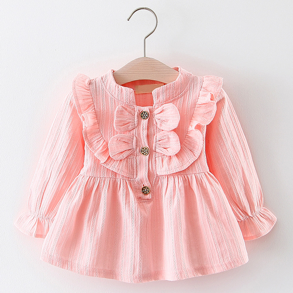 2018 New Dress Girl Kids Dress Baby Girls Bowknot Clothes Long ...