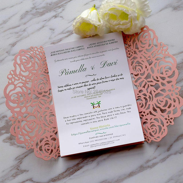 50pcs Personalized Moroccan PINK Rose Laser cut Elegant Wedding