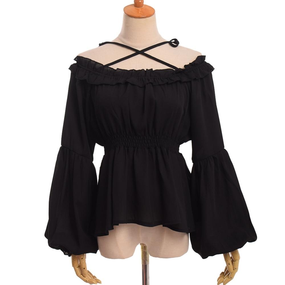 Cintura Barco Lolita marrón Flounce Cuello blanco Vintage Larga Chifón Manga negro Alta Beige Camisa Blusa azul twY5q6x
