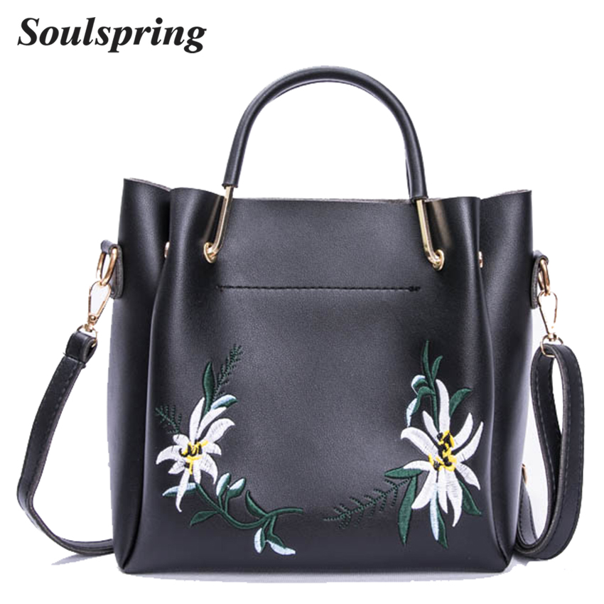 Fashion Floral Women Composite Bags Embroidery Tote Bag Designer Handbags High Quality Shoulder Ladies Hand Bags Metal Handle  new national embroidery bags high quality women fashion shoulder