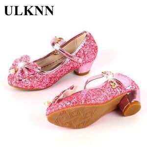 ULKNN الأميرة أطفال أحذية من الجلد للفتيات زهرة عارضة بريق الأطفال عالية الكعب الفتيات فراشة عقدة الأزرق الوردي الفضة