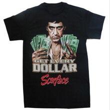 Мужчины с коротким рукавом лицо со шрамом аль пачино получить каждый доллар футболка пользовательские мода лето стайлер дизайн печать тройник Большой размер